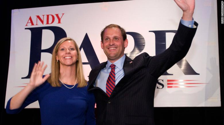Republican Andy Barr and his wife, Carol, present themselves to supporters Tuesday, Nov. 6, 2012 at the Marriott Griffin Gate in Lexington, Ky., to claim Kentucky's 6th Congressional District win from the incumbent, U.S. Rep. Ben Chandler, a Democrat. (AP Photo/Brian Bohannon)