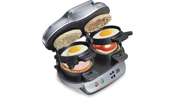 Hamilton Beach Dual Breakfast Sandwich Maker with Timer, Silver