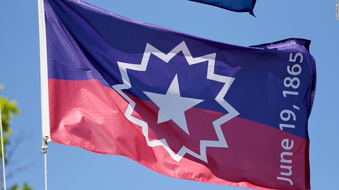 The Juneteenth flag, which commemorates the day that slavery ended in the US.