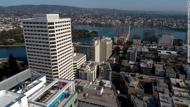 A view of downtown Oakland and Lake Merritt are seen from this drone view in 2019.