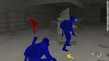 High-contrast mode turns the main characters blue and enemies red to help visually impaired players.