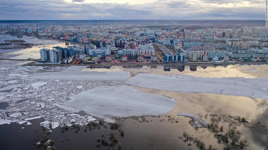 Ice floes drift past the city of Yakutsk, stretching over a distance of about 230km in total along the Lena River.