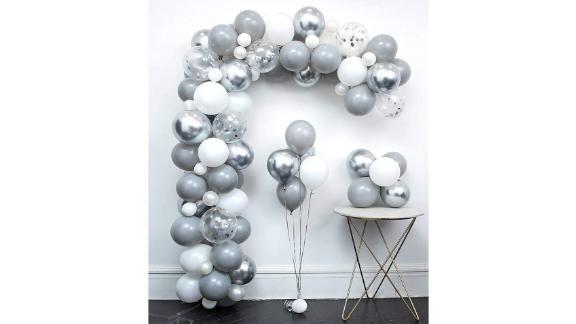Kit arc de guirlande de ballon gris clair métallisé argent blanc