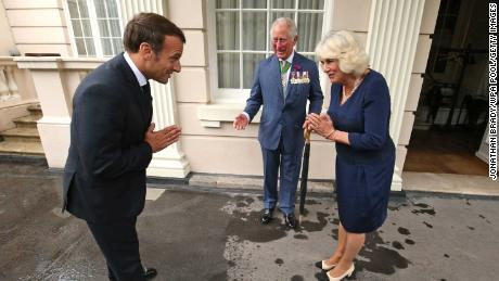 Prince Charles, Prince of Wales and Camilla, Duchess of Cornwall greet  Emmanuel Macron at Clarence House.