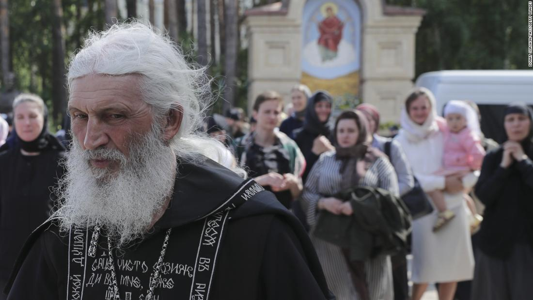 SREDNEURALSK, SVERDLOVSK REGION, RUSSIA - JUNE 17, 2020: Schema-hegumen Sergius (Nikolai Romanov) walks at the Sredneuralsky Convent. On April 27, Sergius was suspended from preaching after a video of him urging believers not to obey the state and religious authorities and calling the COVID-19 coronavirus infection a pseudo pandemic started to circulate. In late May after violating the order the priest was banned from religious services and stripped of the right to wear a pectoral cross. On June 16, Mother Superior Varvara and nuns left the Sredneuralsky Convent in disagreement with Sergius' position on the COVID-19 coronavirus. Donat Sorokin/TASS (Photo by Donat Sorokin\TASS via Getty Images)