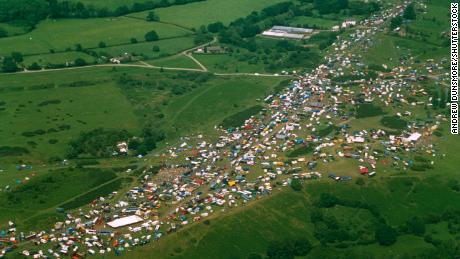 An aerial view of the massive illegal gathering at Castlemorton in 1992, which marked a major turning point for British rave.