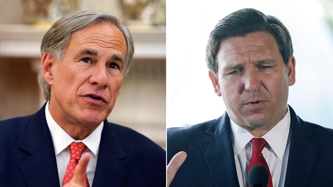 Texas Gov. Greg Abbott and Florida Gov. Ron DeSantis