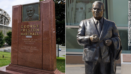 Memorials to the racist former owners of the Washington Redskins and Minnesota Twins are removed