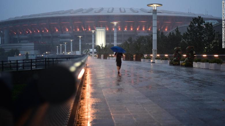 The area around the International Stadium Yokohama is deserted as Typhoon Hagibis approaches on October 12, 2019 in Yokohama, Japan.