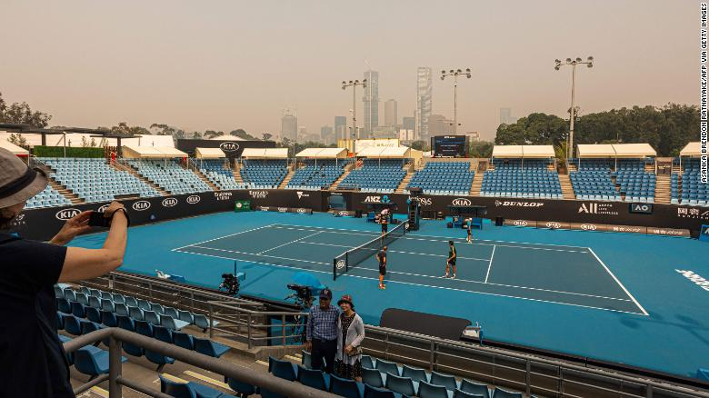 The horizon is covered with thick smoke haze in Melbourne on January 15, ahead of the Australian Open tennis tournament.