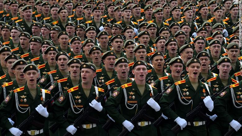 Russian servicemen take part in a rehearsal for the Victory Day parade in St. Petersburg on June 20, 2020.