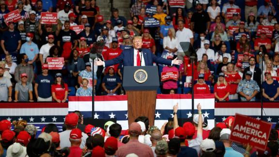 President Donald Trump speaks during a campaign rally at the BOK Center, Saturday, June 20, 2020, in Tulsa, Okla. (AP Photo/Sue Ogrocki)