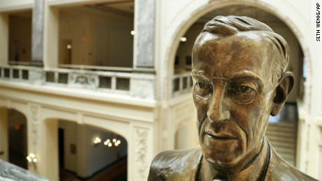 A bust of Woodrow Wilson in the Monmouth University building named after him.