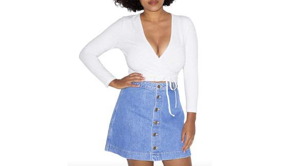 American Apparel Women's Cotton Spandex Julliard Long Sleeve Top Shirt