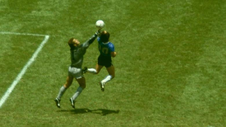 """Maradona outjumps Peter Shilton to score the """"Hand of God"""" goal in the 1986 World Cup."""