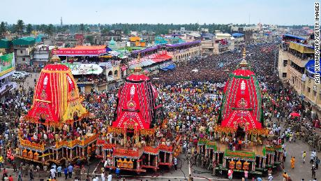 The Rath Yatra celebration in Puri, Odisha, on June 25, 2017.