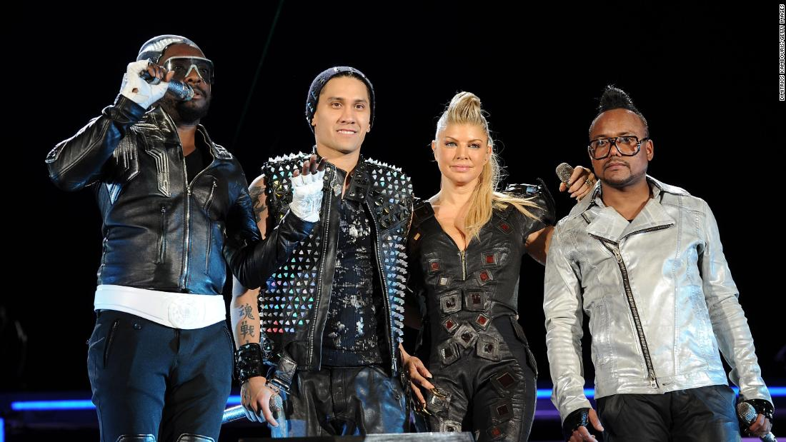 Will.i.am, Taboo, Fergie and Apl.de.Ap of the Black Eyed Peas perform onstage in 2011 at Central Park in New York City.