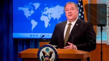 US Secretary of State Mike Pompeo speaks during a news conference at the State Department in Washington,DC on June 10, 2020.