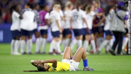 Kathellen of Brazil looks dejected following the France defeat.
