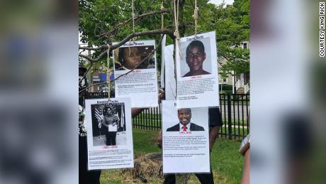 These photos of slain Black figures were found hanging from nooses in Milwaukee.