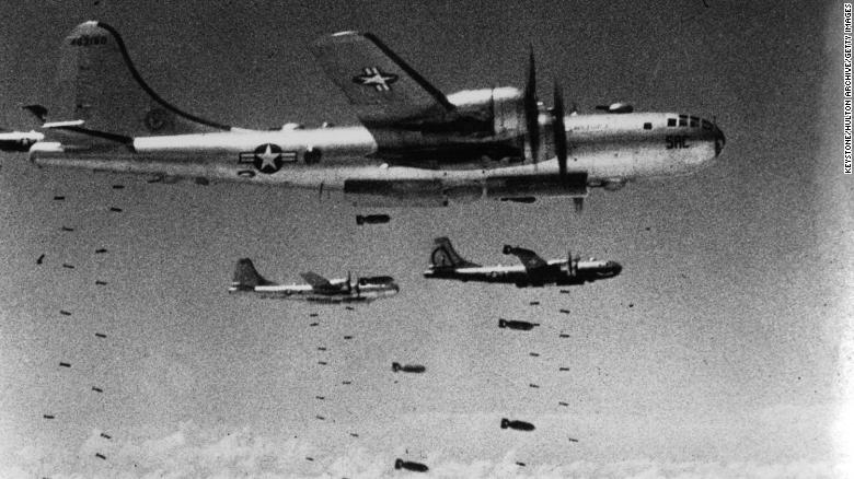 US Air Force B-29 Superfortresses dropping bombs during the Korean War.