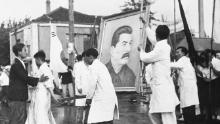 The portrait of Soviet leader Joseph Stalin was preparing for a parade in Pyongyang in July 1947.
