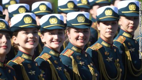 Parade formations prior to the march through Moscow's Red Square.