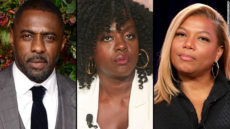 Actors Idris Elba, Viola Davis and Queen Latifah are among those calling for progress in Hollywood.