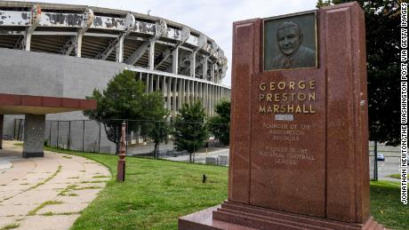 A week after this monument to the founder of the Washington Redskins, George Preston Marshall was taken down, the team announced that it will also remove his name from the Ring of Fame at FedEx field.