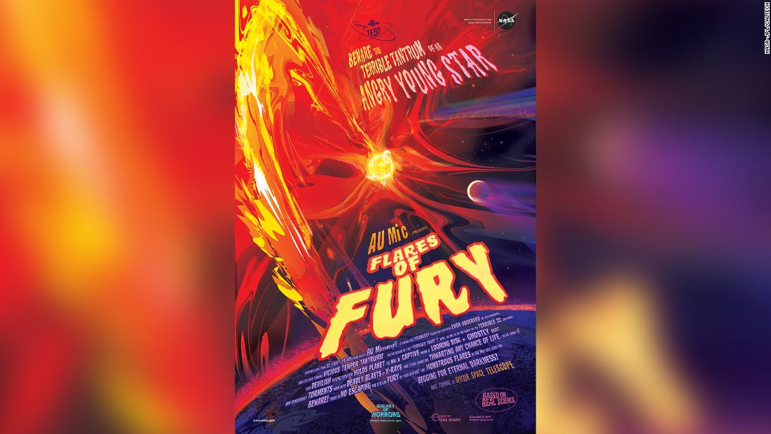 "NASA has shared this ""flares of fury poster"" after the discovery of AU Mic b, an exoplanet less than 32 light years from Earth. Because the star is young and active, it lashes its nearby planet with radiation."