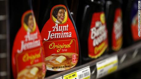 Bottles of Aunt Jemima pancake syrup are displayed on a shelf at Scotty's Market on June 17, 2020 in San Rafael, California.