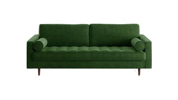 "Derry Velvet 84"" Square Arm Sofa"