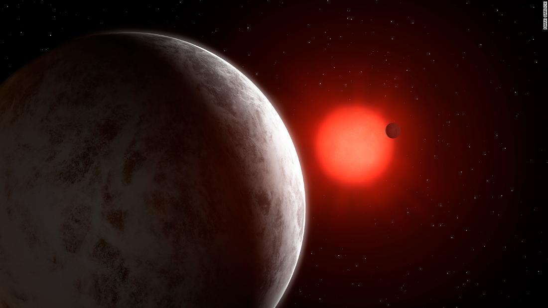 This is an artist's impression of the multiplanetary system of newly discovered super-Earths orbiting a nearby red dwarf star called Gliese 887.