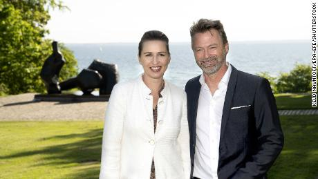 Frederiksen and her fiance, Bo Tengberg at the Louisiana Museum of Modern Art in Humlebaek, Denmark, on May 22 as lockdown restrictions were loosened.