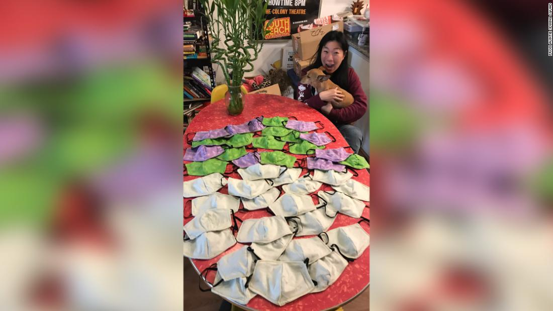 Kristina Wong of Los Angeles with the first batch of masks she sewed for fire fighters in New York.