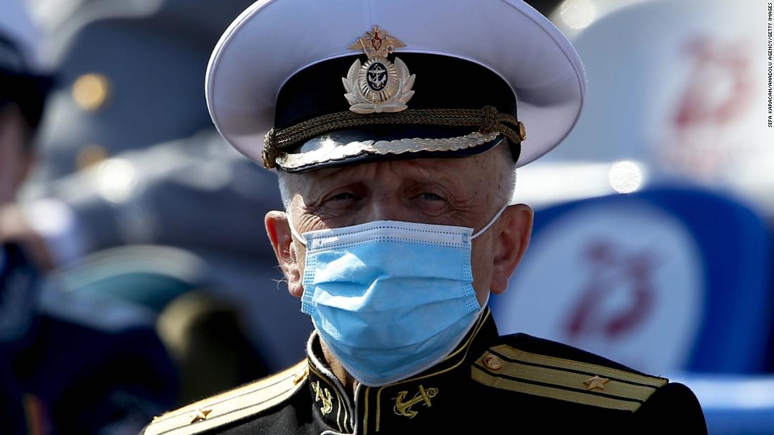 "A ceremonial soldier wears a face mask during <a href=""https://edition.cnn.com/2020/06/24/europe/victory-day-moscow-parade-coronavirus-2020-intl/index.html"" target=""_blank"">Russia's Victory Day parade</a> in Moscow on June 24. A major celebration was originally planned to take place in May, with world leaders invited to attend, but it was postponed by the Kremlin after veterans organizations voiced concerns about the health risks such an event might pose amid the coronavirus crisis."