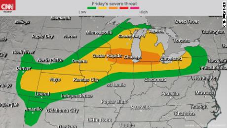Severe storms from Central Plains to Great Lakes Friday