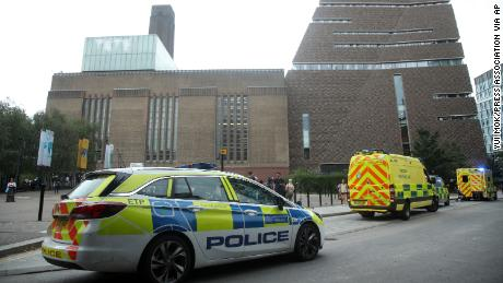 Emergency crews attended the scene at the Tate Modern art gallery following the incident on August 4, 2019.