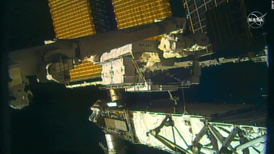 NASA astronauts conduct a spacewalk for space station power upgrades thumbnail