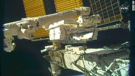 The astronauts are working on the  far starboard truss (S6 Truss) of the space station.