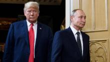 China and Russia have both moved towards leaders for life in presidents Xi Jinping and Vladimir Putin, seen with President Trump at Helsinki, on July 16, 2018.