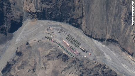 Un campamento chino en el valle de Galwan en el Aksai Chin.