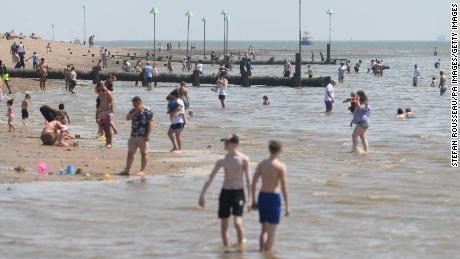 People on the beach in Southend, Essex, on June 26.