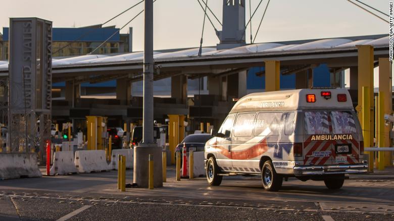 An ambulance crosses the San Ysidro sentry box border crossing on April 27, 2020 in Tijuana, Mexico.