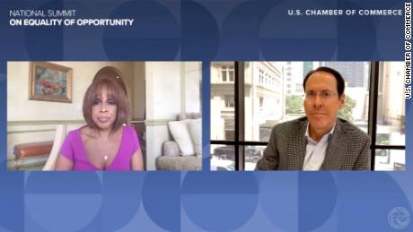 CBS News host Gayle King (left) and AT&T CEO Randall Stevenson (right) discuss diversity in corporate America during the U.S. Chamber of Commerce's National Summit on Equality of Opportunity on Thursday, June 25, 2020.