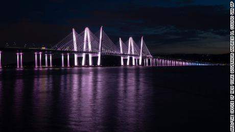 The Governor Mario M. Cuomo Bridge lit in the colors of the transgender flag.