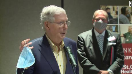 "Senate Majority Leader Mitch McConnell wants Americans to wear masks in public until there is a prophylaxis for Covid-19. ""Until we find a vaccine, these are really important,"" McConnell said Friday while holding up a blue mask, according to CNN affiliate WKYT. ""This is not as complicated as a ventilator, and this is a way to indicate that you want to protect others."""