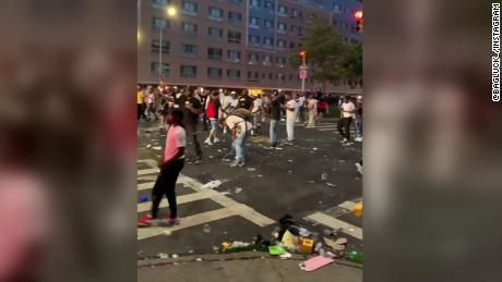 Harlem residents throw glass bottles and other debris at New York City Police Department vehicles on June 28, 2020.