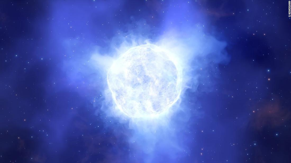 This artist's concept illustration shows what the luminous blue variable star in the Kinman Dwarf galaxy may have looked like before it mysteriously disappeared.