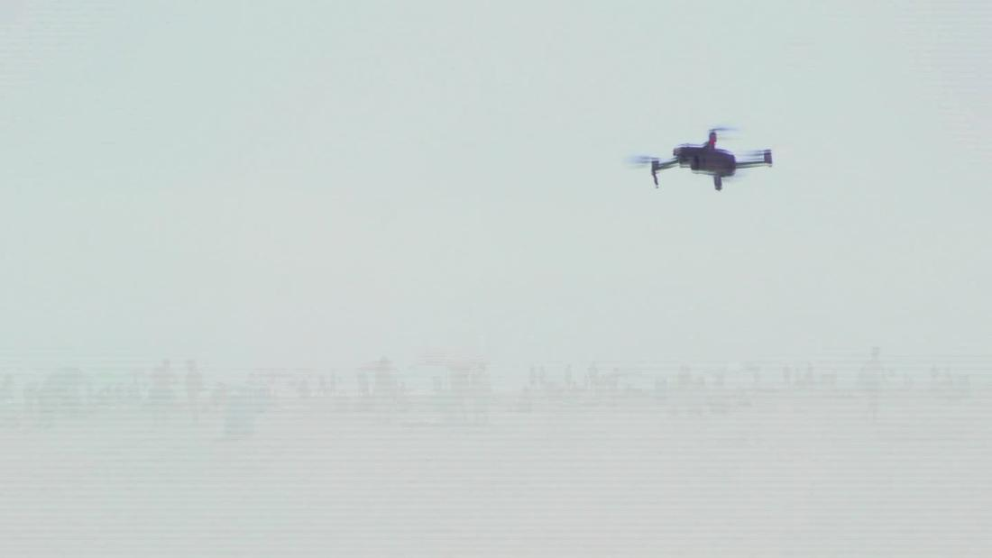 Drones used on beach to ensure social distancing